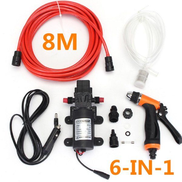 6Pcs 24V Car Washer Gun Pump High Pressure Cleaner 8m Wash Hose Electric Cleaning Portable Auto Device Self-priming Tool
