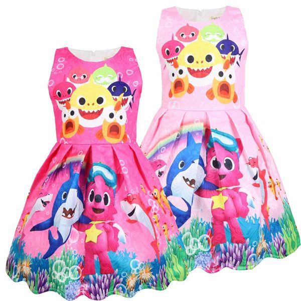 DoDo Girls Baby Shark Sleeveless Dress Summer Cartoon Print Dresses Cosplay Princess Skirt Brand Kids Cloth Flower Girl Party Dresses A3131