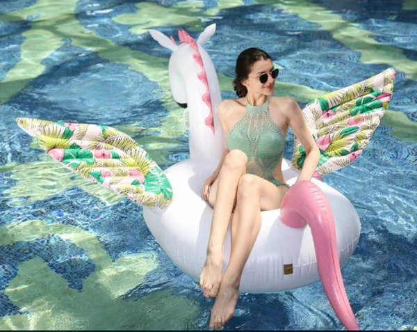 200 CM Riesen Aufblasbare Pegasus Pferd Pool Float Aufsitz Blumendruck Einhorn Schwimmring Urlaub Party Wasser Spielzeug Boia Piscina