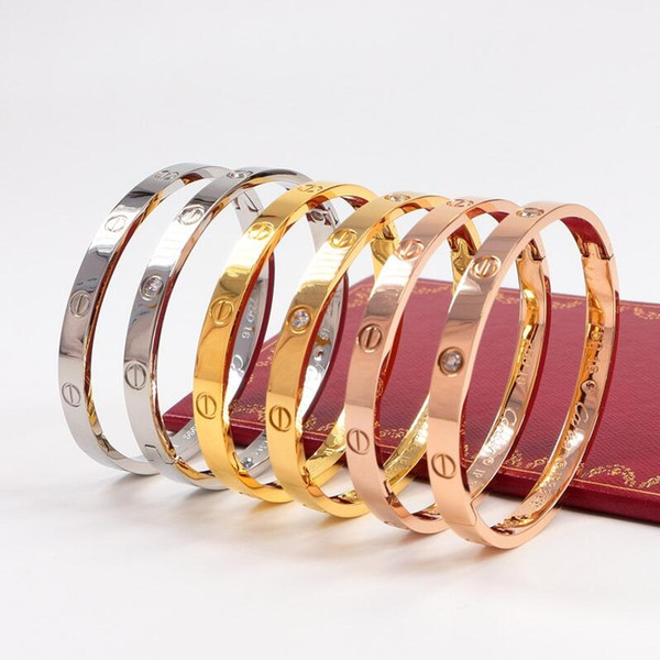 2019 cartier men and women cla ic love de igner jewelry ro e gold 316l love tainle bangle bracelet no box