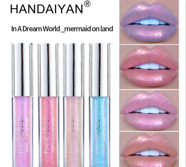 Hot Style Brand Liquid Crystal Glow Lip Gloss Laser Holographic Tattoo Lipstick Mermaid Lipgloss Non-stick cup HANDAIYAN
