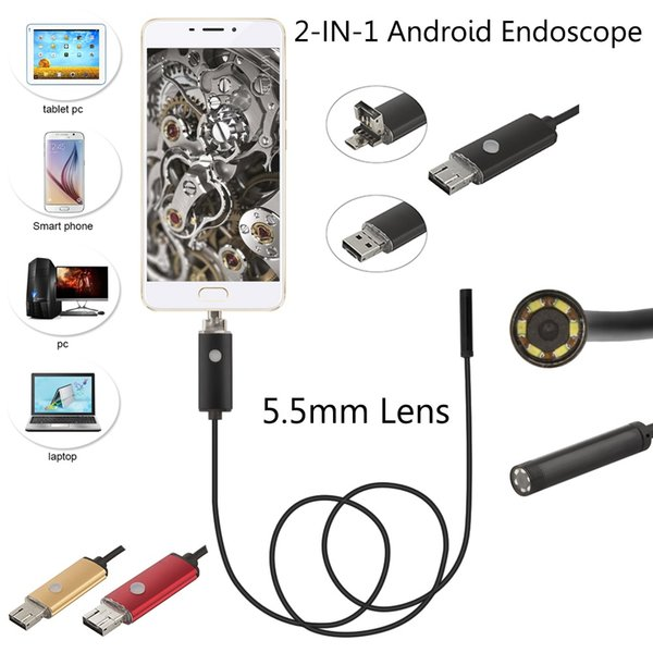 best selling 5.5mm Android USB Endoscope Camera 2 5 10M 2 in 1 Flexible Snake Tube Inspection Smart Android Phone OTG USB Borescope Camera