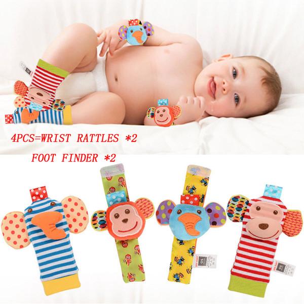 2018 Animal Baby Wrist Rattle Foot Finder Set 4pcs Developmental Soft Toy neonato infantile carino calzini da polso Set