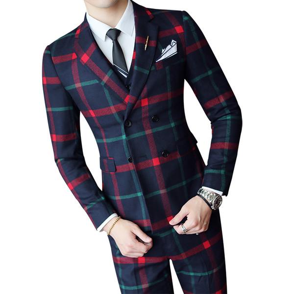 Karierten Hochzeitsanzug 2019 Mode Check Anzug Männer Vintage Prom Bankett Männer Slim Fit Zweireiher Jacke Weste Hose