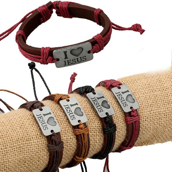 Buon Natale amo Gesù fatto a mano unisex da donna in pelle braccialetto intrecciato tribale braccialetto chiesa doni croce