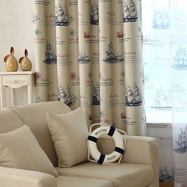 best selling Ready Made Nautical Style Vintage Print Ship Pattern Curtains and Drapery for Living Room Bedroom Kitchen Door Window Treatments