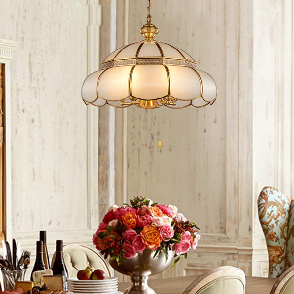 Vintage Copper LED Pendant Lights With Glass Shade For Living room Dining room Kitchen Gold Pendant Lamp lampa wiszaca
