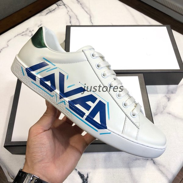 2019FW TOP Size 35-46 Fashion Man Woman Designer Shoe LOVED Ace Embroidered Leather Sneakers Italian Luxury Shoes Unisex Casual Shoe