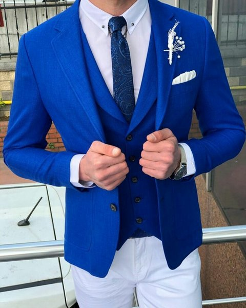 Slim Fit Men Suits for Wedding Man Suits Royal Blue Groom Tuxedos 3Piece Slim Fit Groomsmen Blazers Custom Made Costume Homme Evening Party
