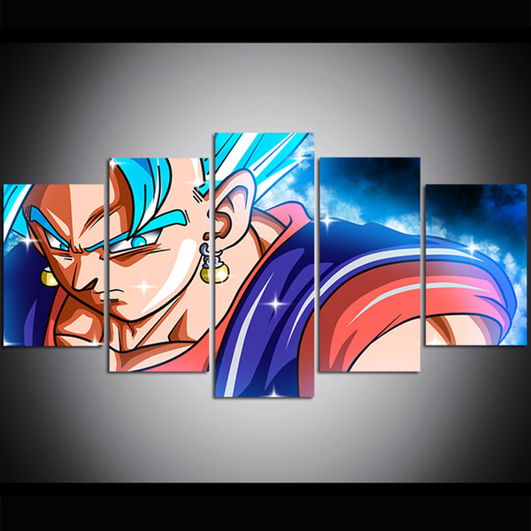 5 Piece Large Size Canvas Wall Art Dragon Ball SSGSS Vegito Blue Oil Painting Wall Art Pictures for Living Room Paintings Wall Decor