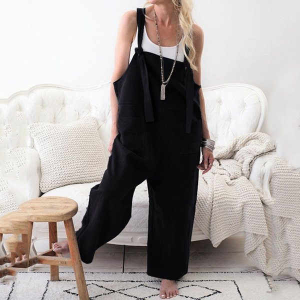 2019 New Spring Jumpsuits Dungarees Strap Overalls Harem Trouser Women Baggy Casual Rompers Full Length Coffee Lady Jumpsuit