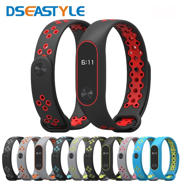 Silicone Bracelet For Xiaomi Mi Band 2 Strap Dseastyle Double Color Wrist Strap Replacement Sport Smart Band For Mi 2