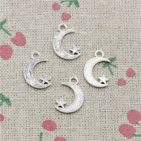 210pcs Charms double sided moon star 17*11mm Tibetan Silver Vintage Pendants For Jewelry Making DIY Bracelet Necklace