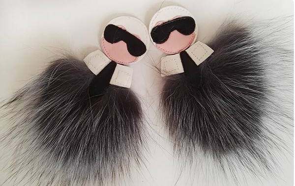 Fluffy Fox Fur Pom Poms Handmade Leather Charm Keychain Pompom Key Chain Holder Ring Luxury Gift Bag Clothes shoes Accessories