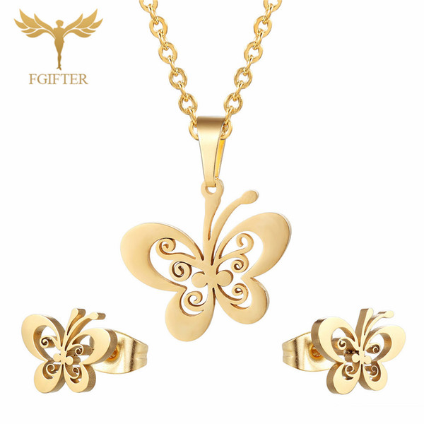 FGifter Or Papillon Boucles D'oreilles Collier Ensembles de Bijoux pour Filles Enfants En Acier Inoxydable Bijoux Enfants Cadeaux En Gros