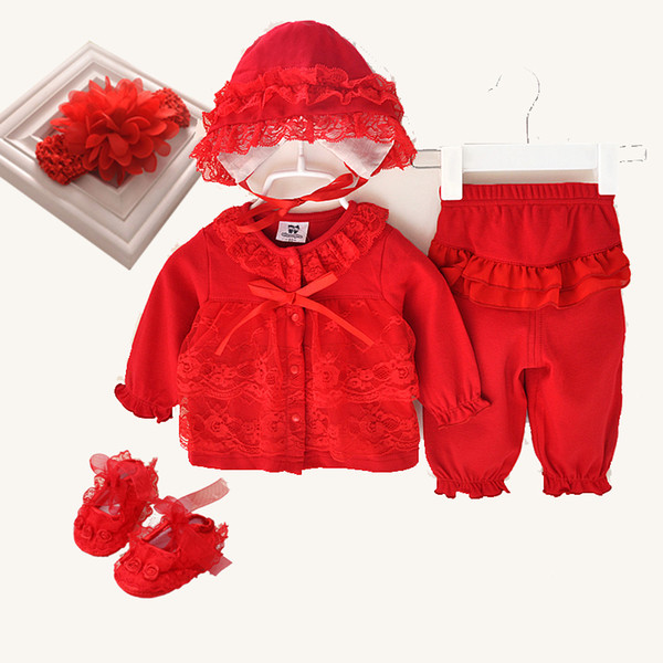 3 Pcs Cute Newborn Girl Clothes Set 1st Birthday 2017 New Style Clothing Hat Shoes Headband Lace 0 Baby Suit 12 J190521