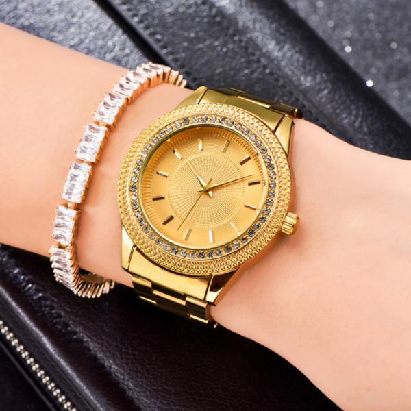 Relógios modernos 2019 Novos Relógios De Luxo Da Marca Relógios Homens Completa De Aço De Ouro De Quartzo Relógios De Pulso Das Senhoras Relógio Atacado Rosa De Ouro