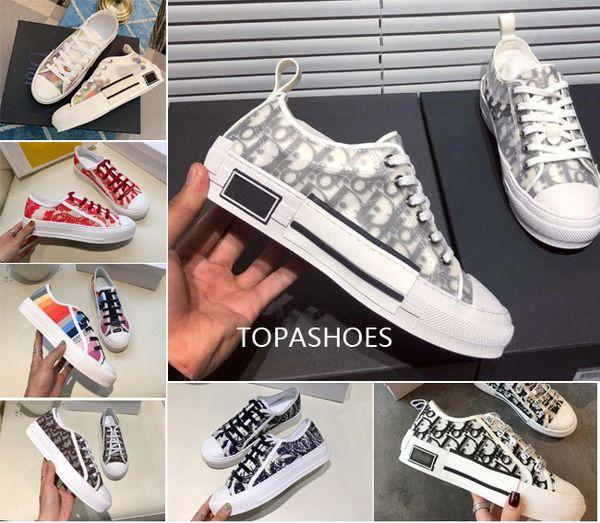 Toptan Çiçekler Teknik Tuval B23 düşük Üst Sneakers Eğik Erkek Lüks Tasarımcı Ayakkabı Bayan Moda Sneakers Ayakkabı Çizmeler