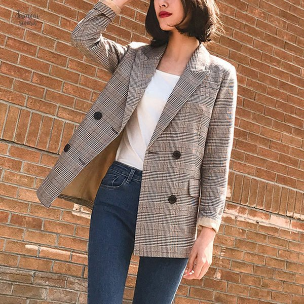 vintage suits bouble breasted women plaid blazer spring pockets jackets female coat work feminino outerwear high quality