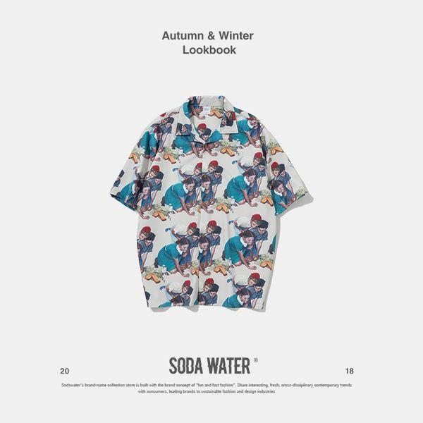 SODA WATER Oversize Print Shirt Children Graphic Half Sleeve Casual Shirt Harajuku Streetwear Hip hop Short Sleeve Shirts 9236S