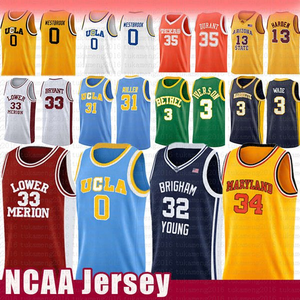 Russell 0 Westbrook Reggie 31 Miller UCLA NCAA Jersey Jimmer 32 Fredette Brigham Young Cougars Lower Merion Kobe 33 Bryant Len Bias Maryland