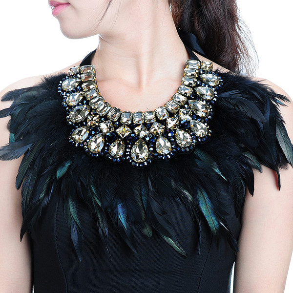 Jerollin Luxury Fashion Jewelry Big Hot Sale Feather Shiny Crystal Pendant Statement Bib Collar Choker Charm Necklace For Women Y19050901