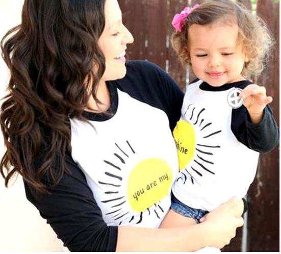 Mommy and Daughter Family Matching Mother Daughter Shirt Tops Clothes Sun Printing Long Sleeve Coat Kids Parent Child Outfits