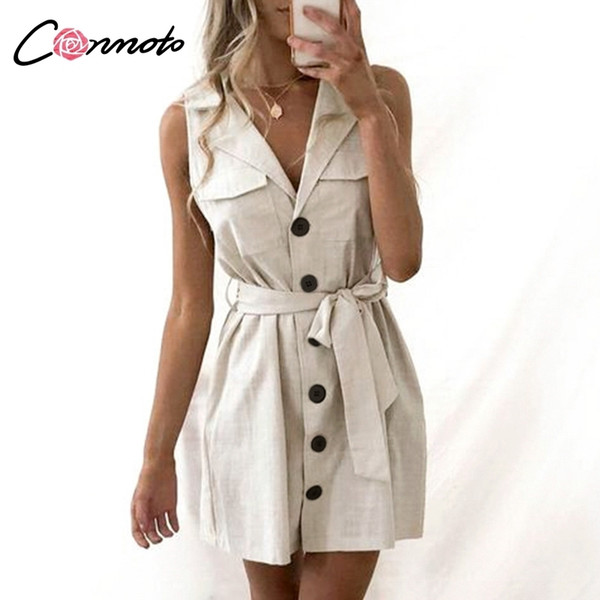 Conmoto Elegant Short Blazer Women Dress Sexy Bow Belt Tie Solid Mini Dress Linen Button Beach Wrap Party Dresses Shirt Vestidos Q190423