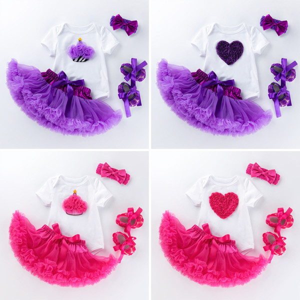 4 pezzi Baby Pagliaccetti Moda neonato ragazza vestito Tuta bambino + Fascia + scarpe + gonna Cartoon Baby vestiti in cotone Outfits 0-24M