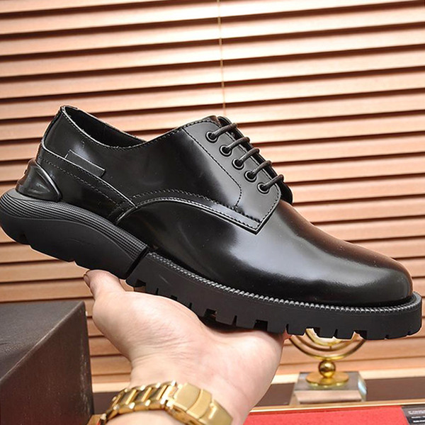 Derby Shoes Autumn Winter New Comfortable Business Dress Shoes Men's Split Leather Pointed Formal Men Derby Shoes Lace-up Office Oxfords