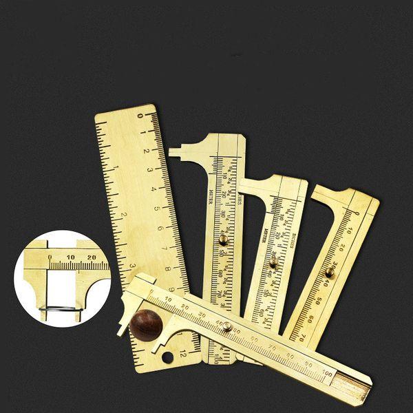 80mm 100mm Mini- Brass Vernier Caliper Measurement Model Measuring Copper Woodworking Tools Gauge Measure Tool Ruler Micrometer
