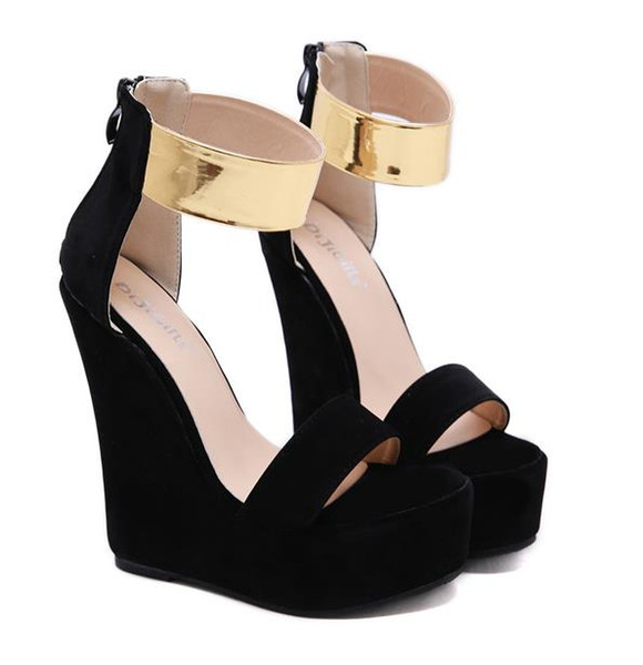 Chic black gold platform wedge sandals fashion women designer high heels summer shoes size 35 to 40