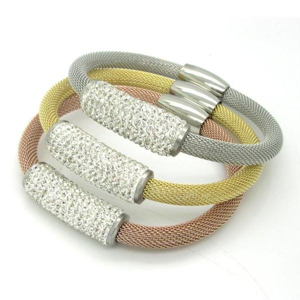 Pay4U Fashion Punk Braccialetti personalizzati in acciaio inossidabile Braccialetti in metallo Gioielli braccialetto personalizzato Braccialetti in cristallo da donna braccialetti in titanio