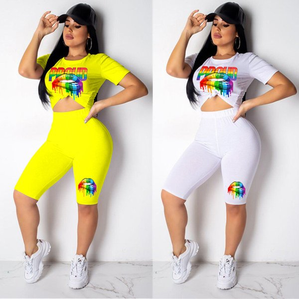 2019 Women Rainbow Lips Tracksuits Summer Casual T-shirt Tops + Knee Length Shorts 2 Piece Set Fashion Outfits Sportwear Jogger Suit A41001