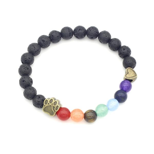Natural Stone Beads Yoga Bracelet Fancy 7 Chakra Healing Balance Dog Paw Braclets for Men Women Yoga Hand Jewelry