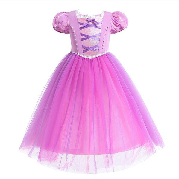 Baby Girl Princess Dress for Girls Summer Short Sleeve Purple Clothing Wear Cosplay Princess Costume Halloween Christmas Party 4-8Y