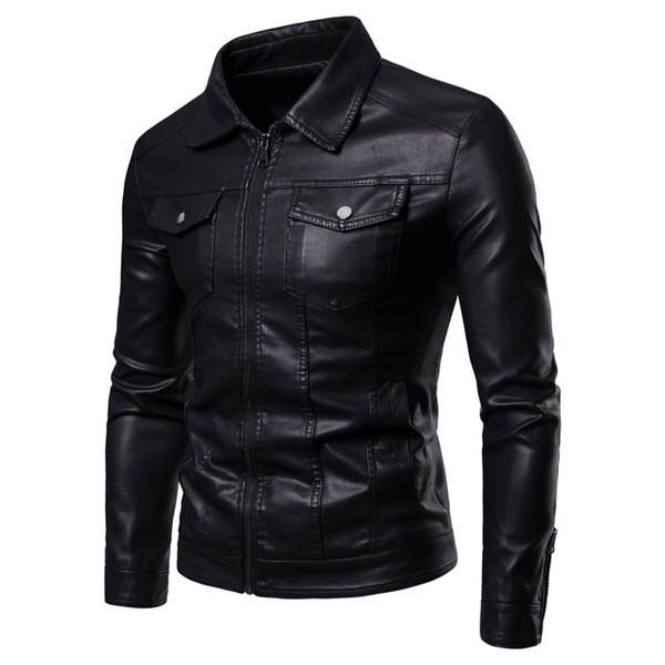 Кожаная куртка для мужчин Осень и Зима Новая мужская модная куртка с отворотом с несколькими карманами из искусственного меха Кожаное пальто для мужчин Искусственная кожа