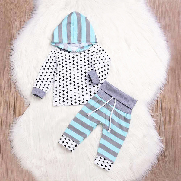good quality 2PCS Autumn Hoodie Pullover Toddler Baby Infant Stripe Print Hooded Top Clothes+Drawstring Long Pants Set Outfit