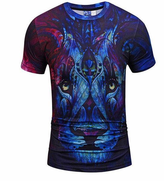 2019 tees Mens Designer T Shirt dos homens de Moda 3D Leão Imprimir tshirts de Verão de Manga Curta de Algodão Tops Casual Marca Hip Hop T-shirt