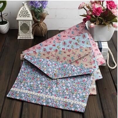 Free shipping Kawaii Office Supplies Cute Bowknot Flower Filing Products Soft Fabric A4 Folder For Document / File Bag