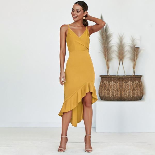 Kadınlar Seksi Elbiseler Yaz Marka Spagetti Kayışı Moda Elbiseler Bayanlar Katı Renk Asimetrik Uzun Elbise Yüksek Kalite