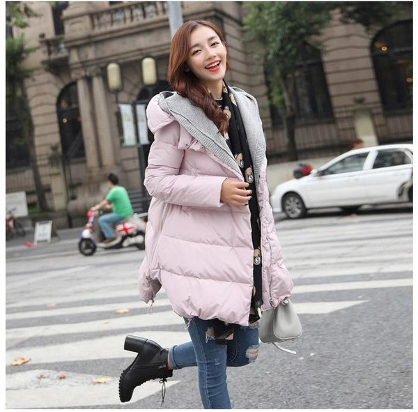New Womens Down Jackets with Sweater collar Down Jacket Women Hooded