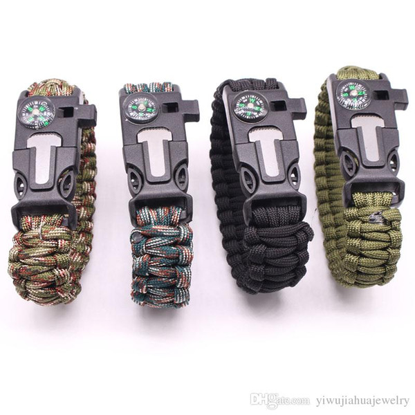 best selling 2020 New Design Multifunctional Outdoor Paracord survival bracelet 9 inch length Compass Emergency Whistle Knife and Scraper