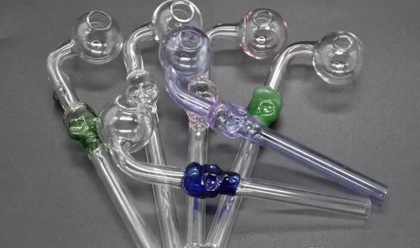 Muestra especial para probar 14cm Oferta especial Tirachinas Forma de calavera Pipas de vidrio para fumar Quemadores de aceite de vidrio transparente transparente Pipas de agua mxg0013