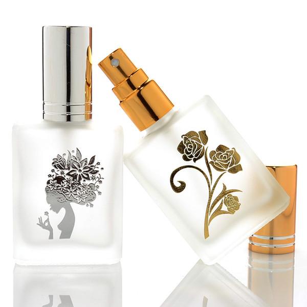 Garrafa de perfume do vidro geado 10ML com o recipiente cosmético vazio portátil do atomizador de alumínio para o curso