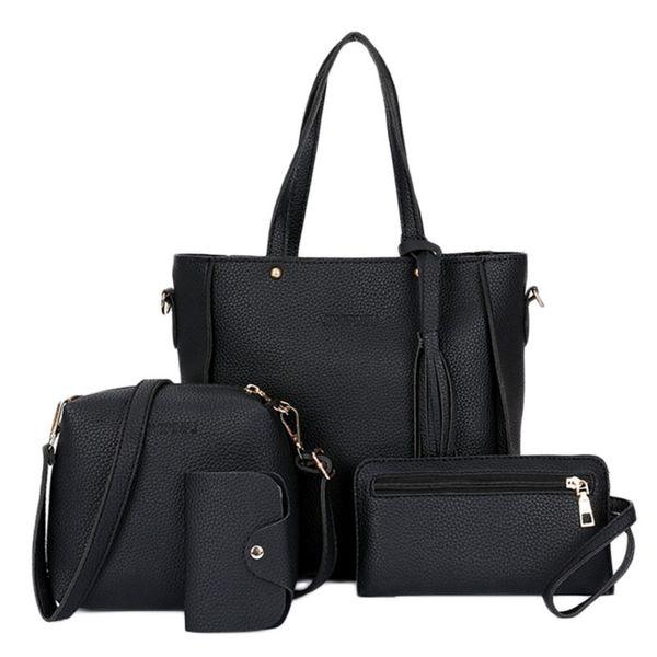 Puimentiua 2018 High Quality Shoulder Bag 4 Pcs /1 Set Women Lady Fashion Handbag Shoulder Bags Tote Purse Messenger Satchel Set