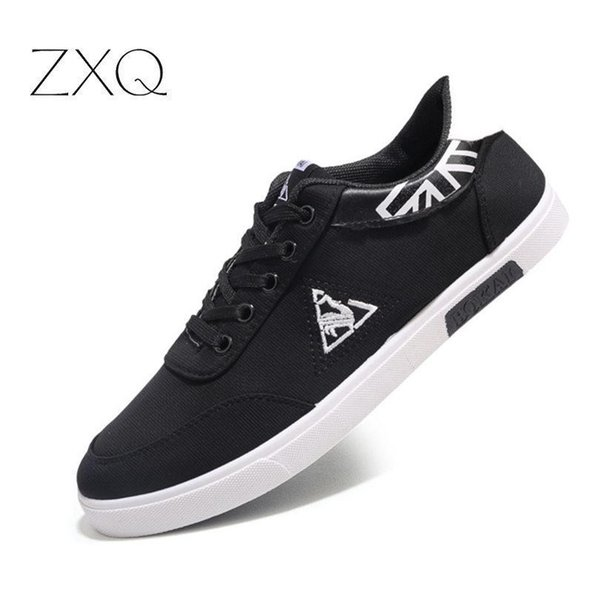 2019 New Mens Casual Shoes Canvas Shoes For Men Lace-up Breathable Fashion British Style Flats Sneakers Male Shoes
