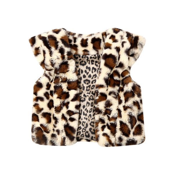 New Winter Coat Baby Toddler Baby Kids Girl Winter Warm Leopard Faux Fur Thick Coat Outwear Waistcoat Children Outwear 1-6 Years