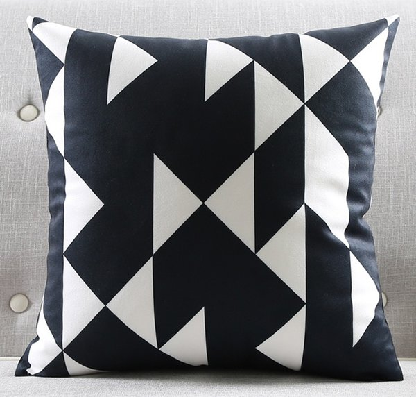 Square Black and White Cushion Covers Geometric Triangles Stripe World Map Pillow Cover Decorative Velvet Pillow Case for Sofa Seat