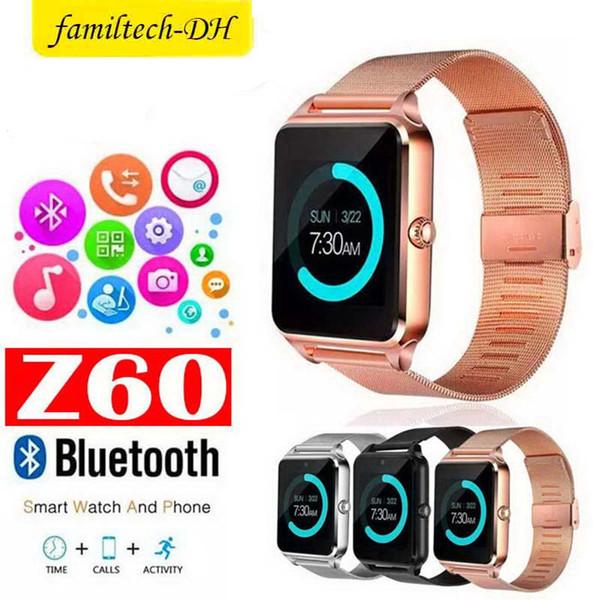 Смарт-Часы Z60 1.54 дюймов Bluetooth Смарт-Наручные часы Поддержка SIM TF Карта Браслет Для IOS Android Камеры Фитнес-Трекер Браслет